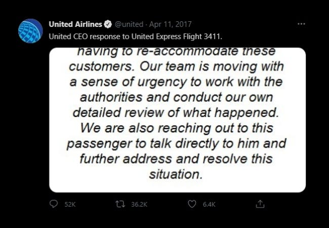 United Airlines CEO Response
