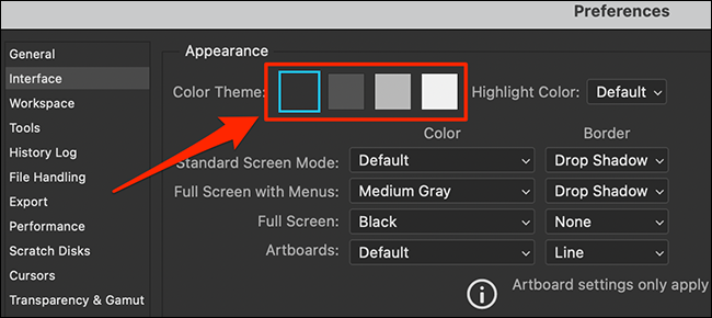 """Select a """"Color Theme"""" in Photoshop's """"Preferences"""" window."""