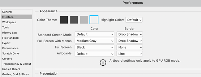 """An example of Photoshop's """"Preferences"""" window with a light theme."""