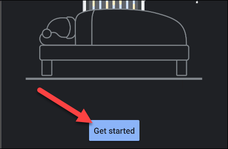 """Tap """"Get Started"""" in the """"Bedtime"""" app."""