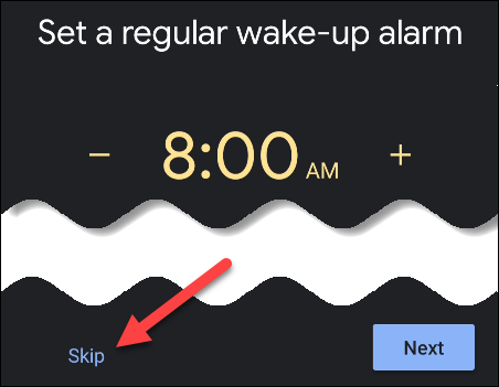 skip setting an alarm