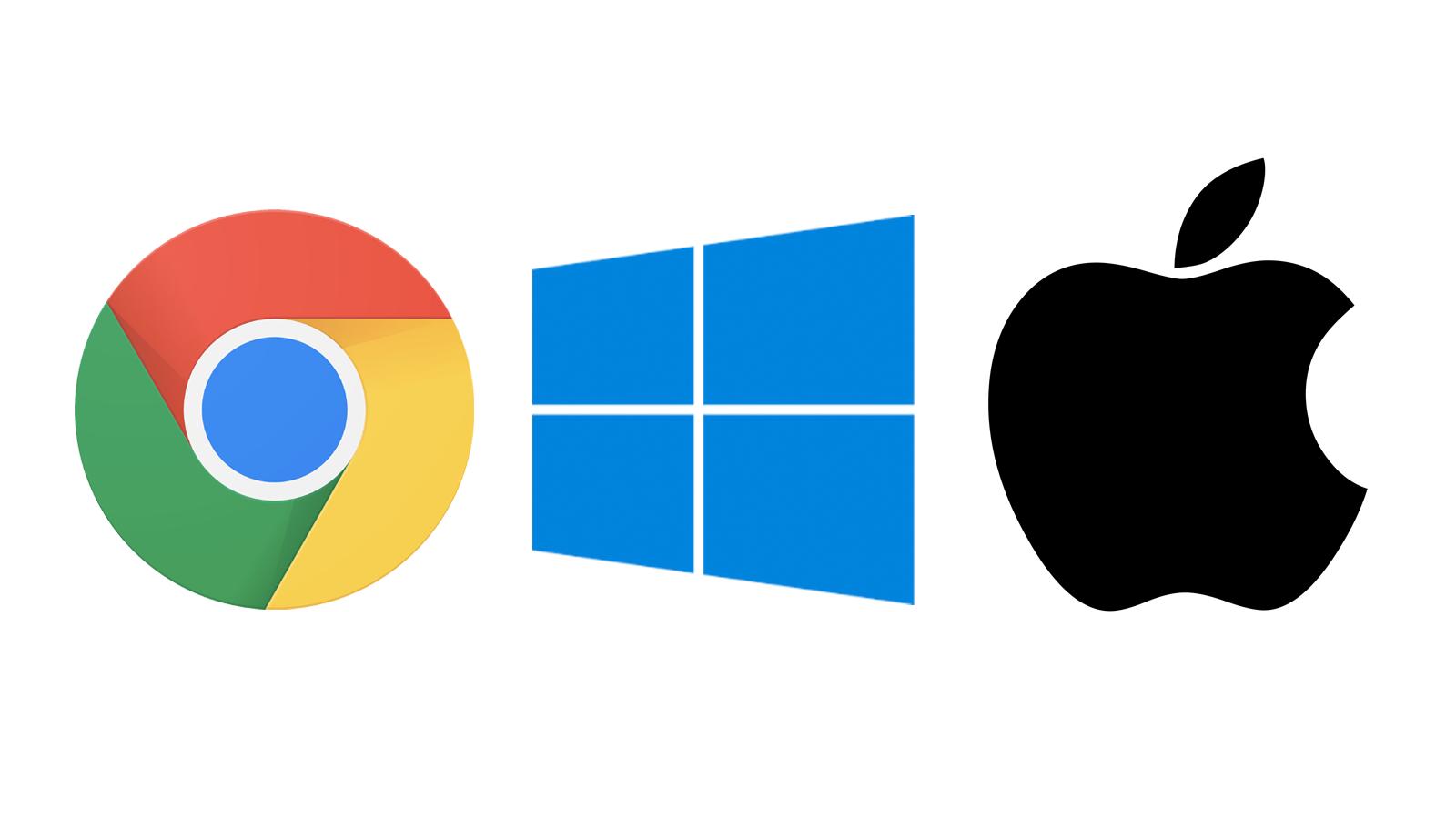 Google, Microsoft, and Apple logos.