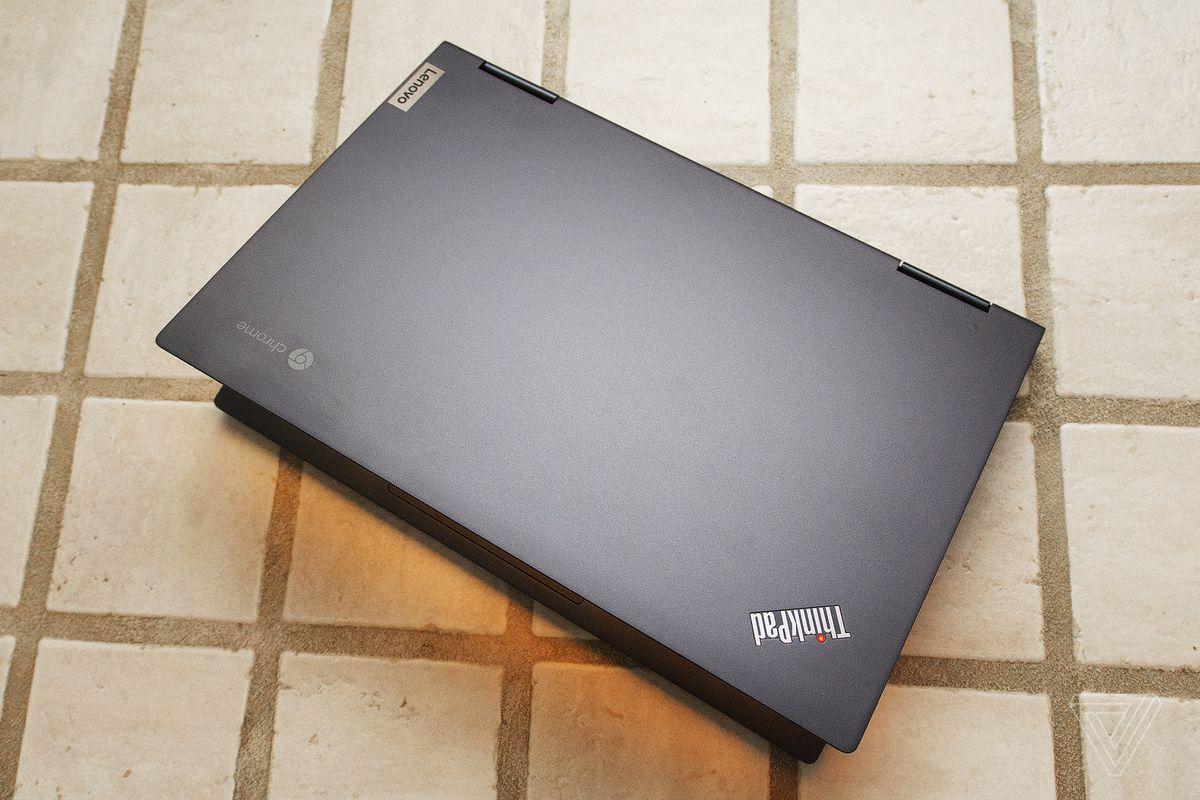Lenovo ThinkPad C13 Yoga Chromebook seen from above half open.