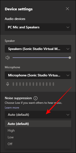 Noise Suppression option in Device Settings in Microsoft Teams