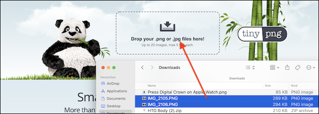 Drag and drop images that you want to compress in TinyPNG.