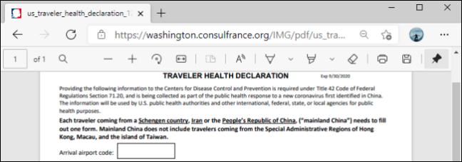 PDF Toolbar in Microsoft Edge