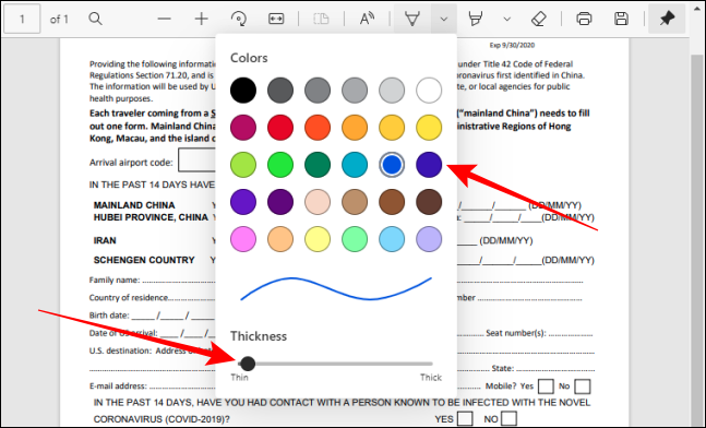 Pick color and adjust thickness for the pen tool in PDF Toolbar in Edge