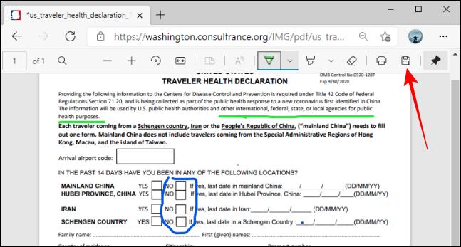 Save Button on PDF Toolbar in Microsoft Edge