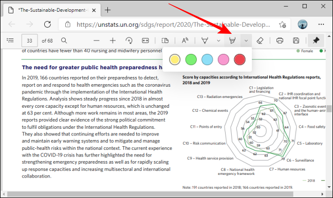 Highlight tool color options in PDF toolbar in Microsoft Edge
