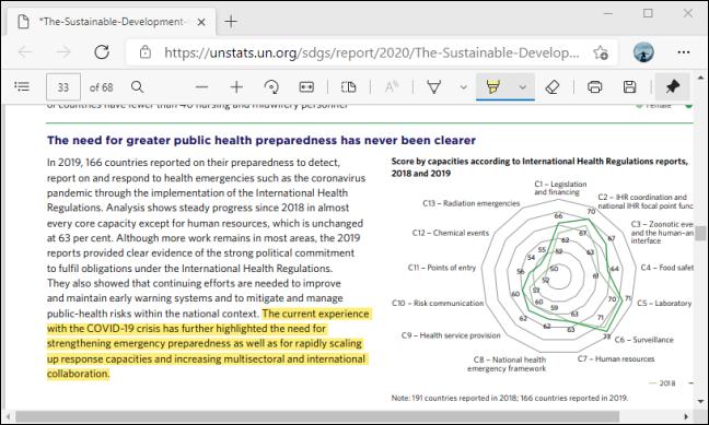 Highlight text using PDF Toolbar in Microsoft Edge