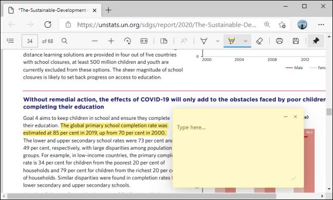 Comment Box on PDF in Microsoft Edge