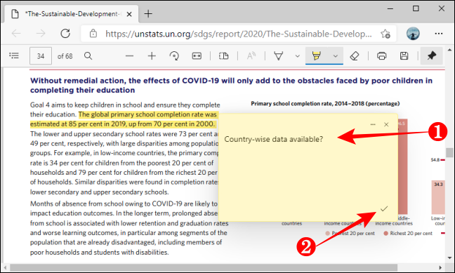 Add Save Comment in PDF using Microsoft Edge