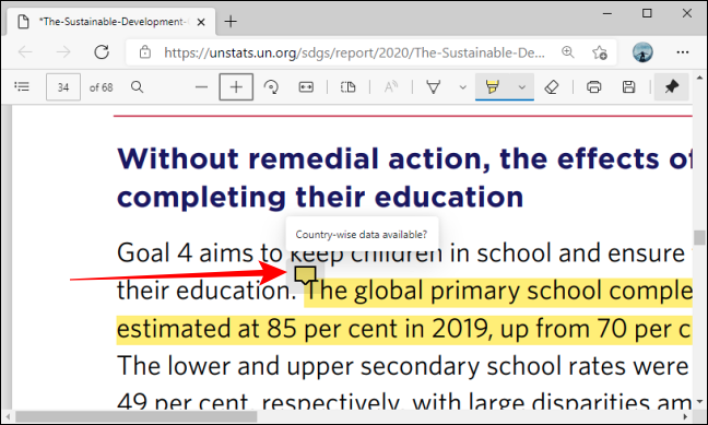 Comment Bubble Hover card in Microsoft Edge for PDFs