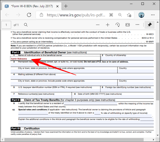 Highlighted Boxes PDF form in Microsoft Edge