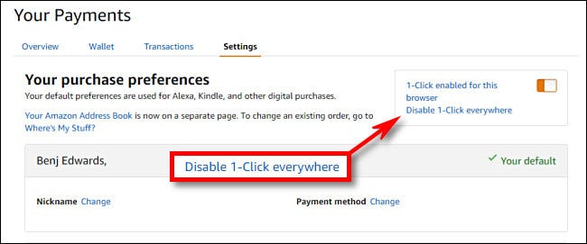 "Click ""Disable 1-Click Everywhere."""
