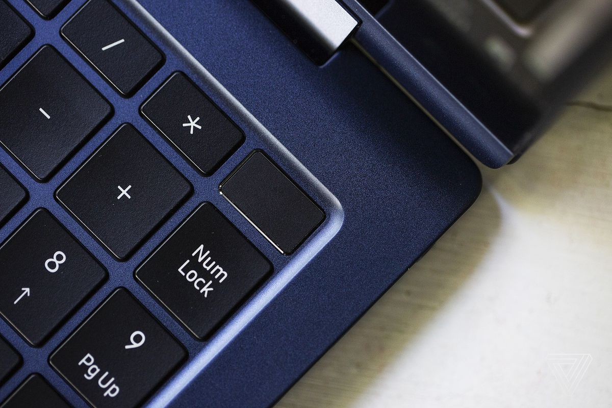 The power button in the top right corner of the Samsung Galaxy Book Pro 360.
