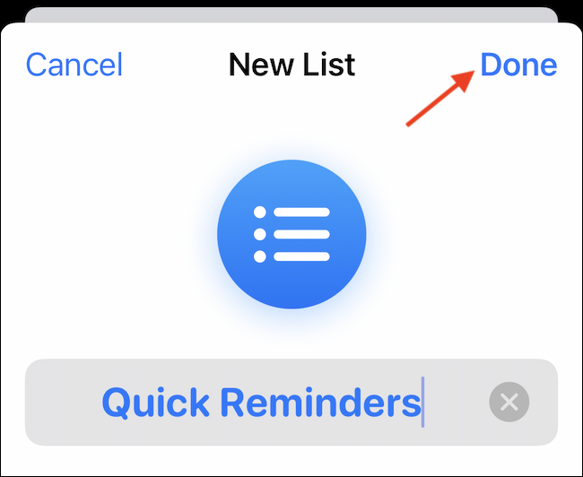 """Customize the list with a name, color, and icon. Then tap """"Done"""" to save it."""
