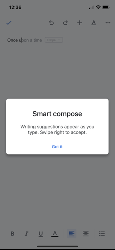 Smart Compose Enabled Message in Google Docs on iPhone