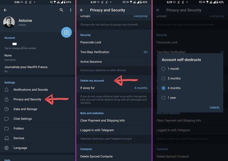 telegram how to delete account