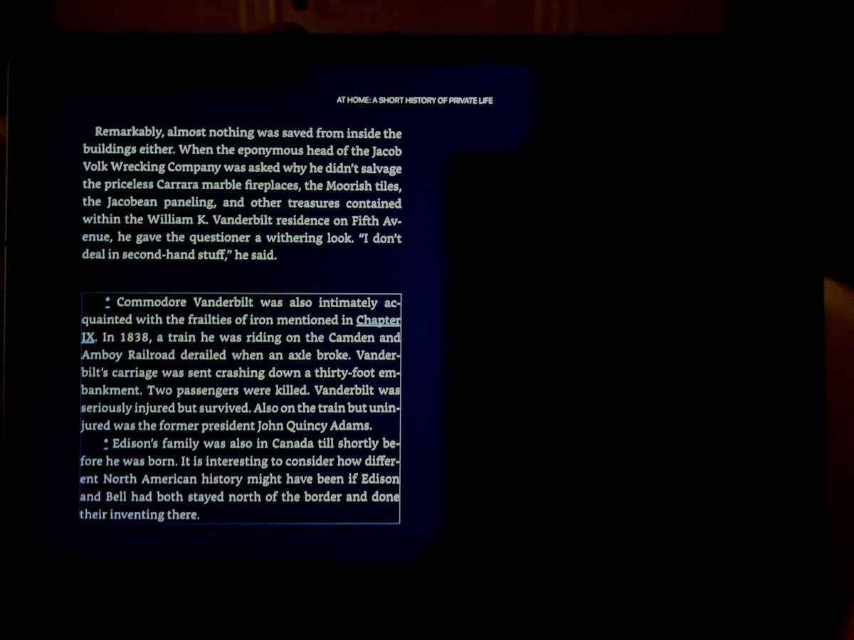 Both Kindle and Apple Books in dark mode, in a very dark room, have a weird gray halo around text not due to normal blooming (Click to enlarge. Photo edited to best replicate what I saw with my eyes)