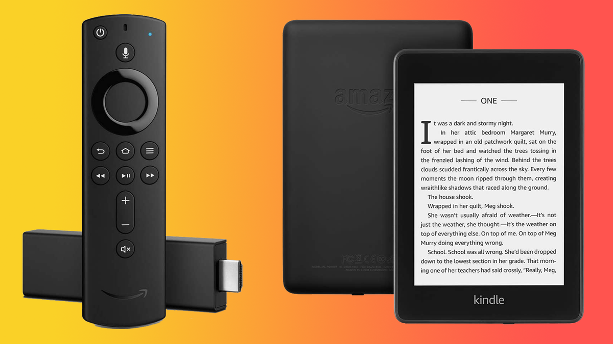 Amazon Fire TV Stick and Kindle against orange gradient background