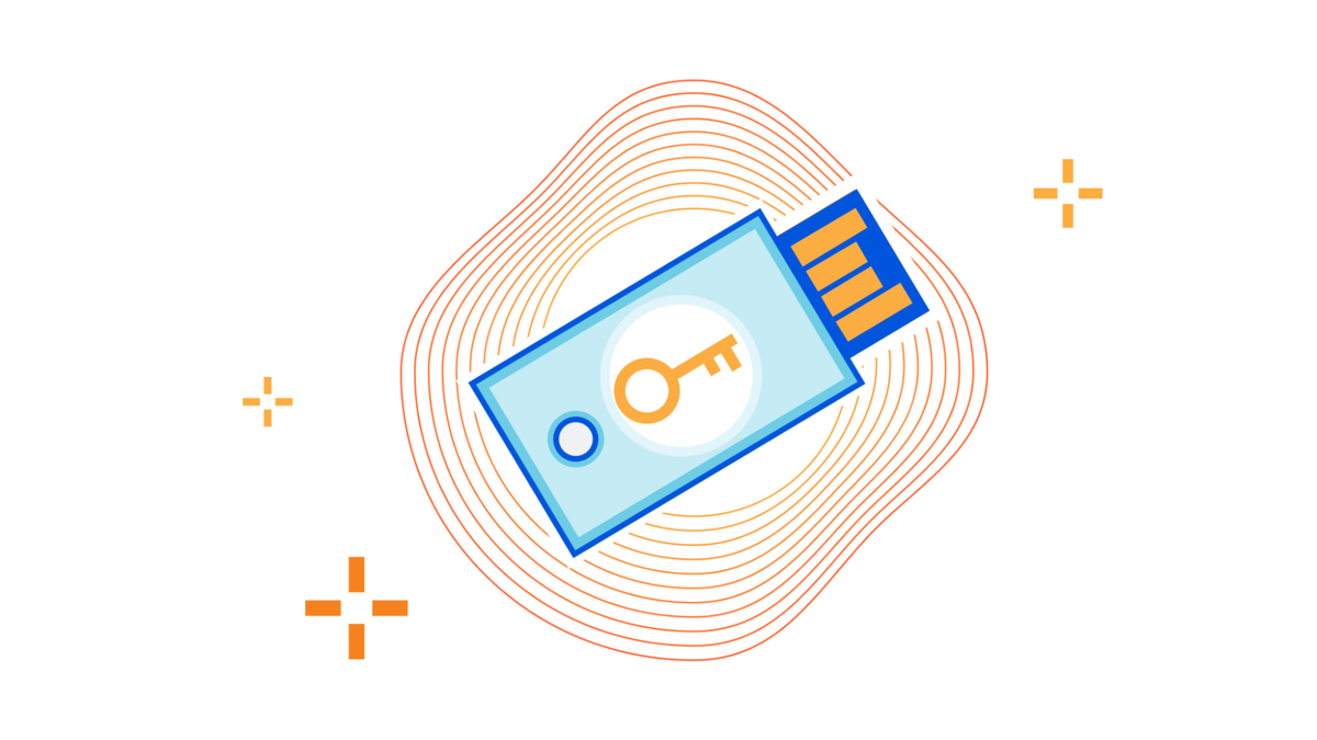 An illustration of a USB Security Key