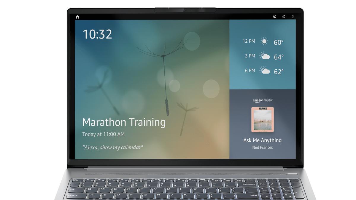 A Lenovo laptop running Echo Show mode.