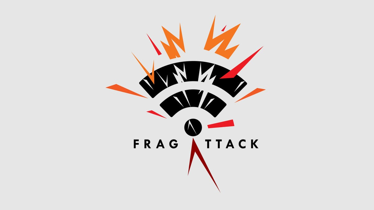 The FragAttack logo (a wifi symbol with many broken symbols) over a grey background.