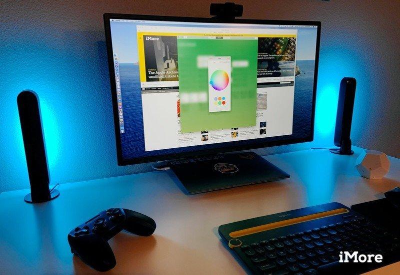 Philips Hue Play Bars on a desk