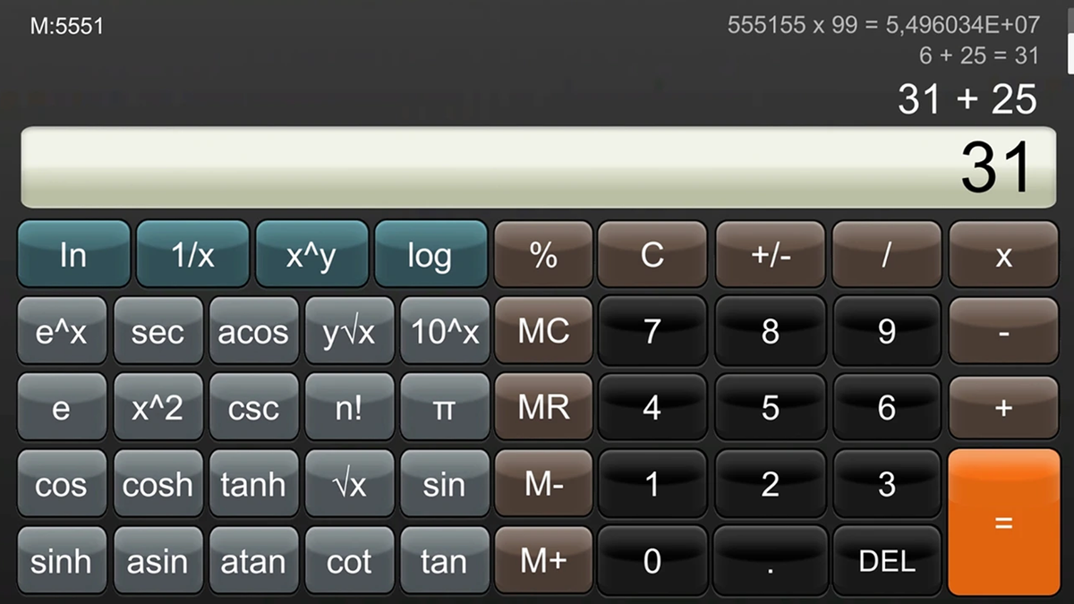 The Calculator for Nintendo Switch app.