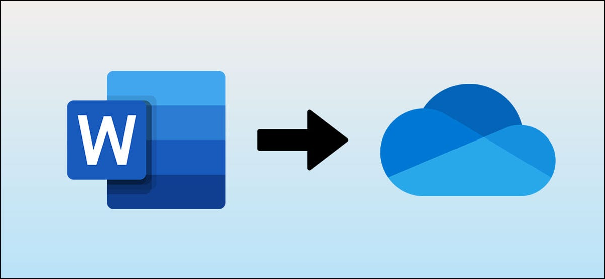 Microsoft Word logo with an arrow pointing at OneDrive logo