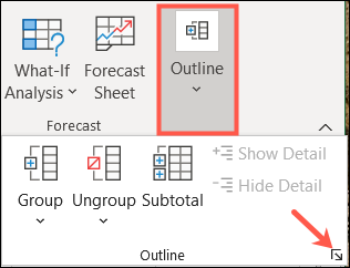 Go to Data, Outline, and click the dialog launcher