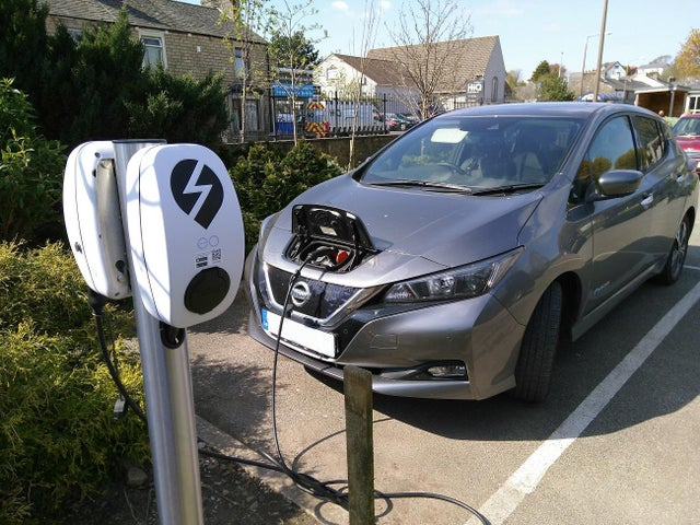 A Nissan Leaf charging at The Boot and Shoe in Scotforth Road, Lancaster.