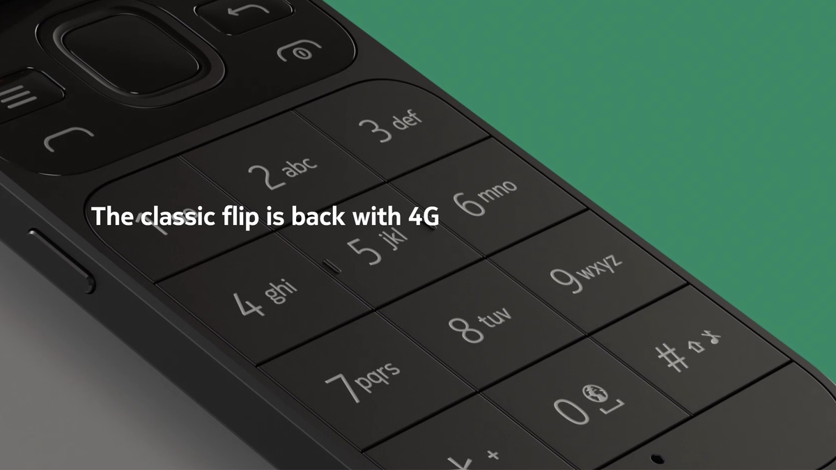 Partial view of the new Nokia 2720 V Flip against a plain green background