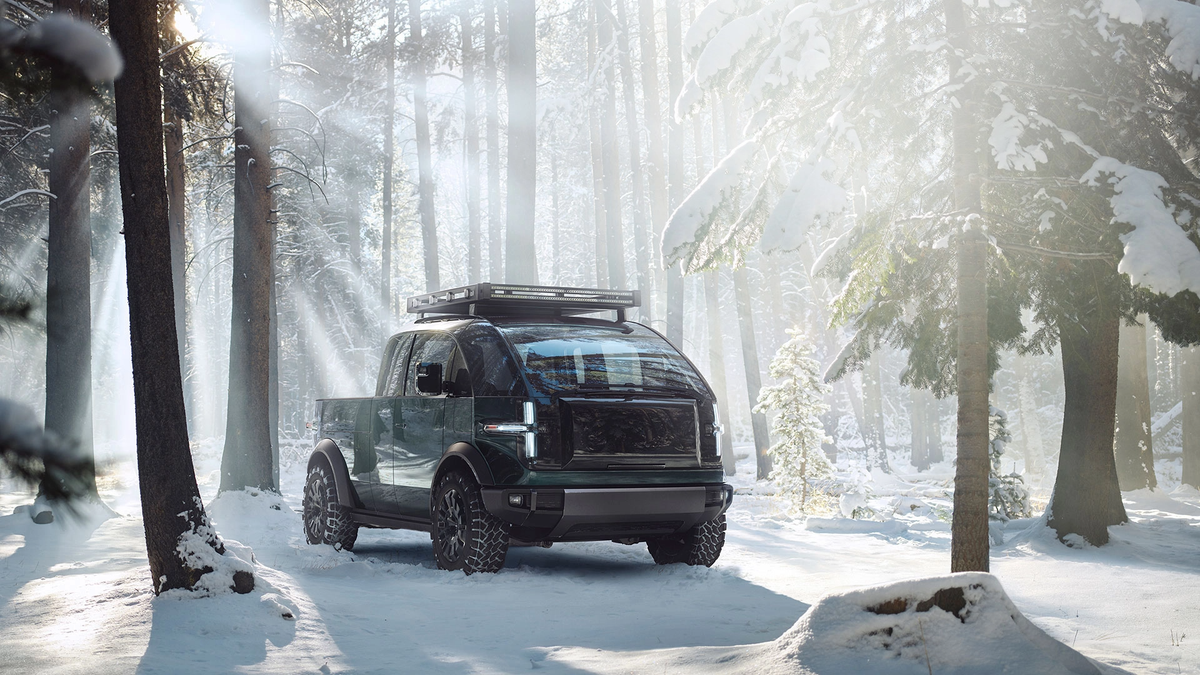 Canoo Electric Vehicle in the snow