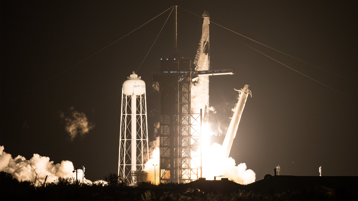 SpaceX Falcon 9 rocket carrying Crew Dragon spacecraft on NASA's SpaceX Crew-1 mission to the International Space Station