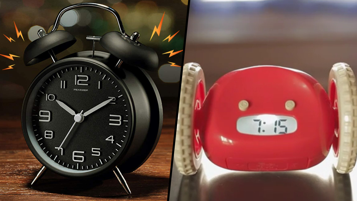 Peakeep Twin Bell Alarm Clock ringing, Clocky in red