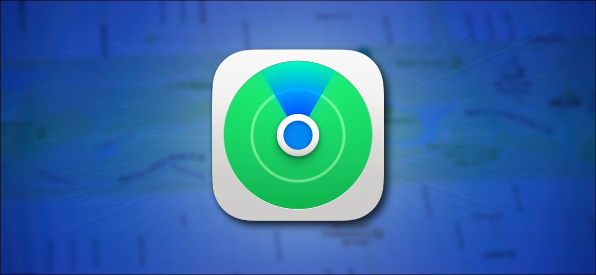 Apple's Find My Icon on a Blue Background with a Map Hero