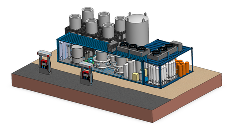 a rendering of the hydrogen fuel production facility planned by powertap