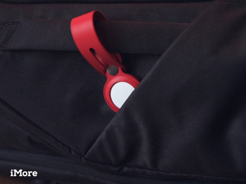 AirTag in red leather loop