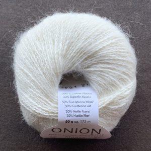 Alpaca + merino Wool + Nettles - Råhvid 1201 - Onion