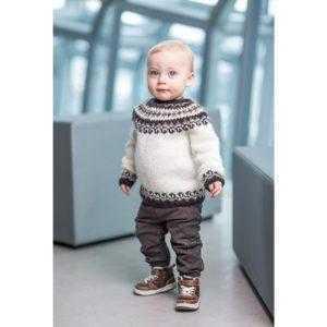 Strikkeopskrift istex islandsk sweater til børn - Bogi - Pindeliv