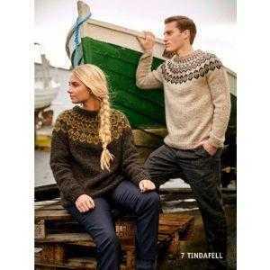 Strikkeopskrift Istex islandsk sweater til mænd og kvinder - Tindafell