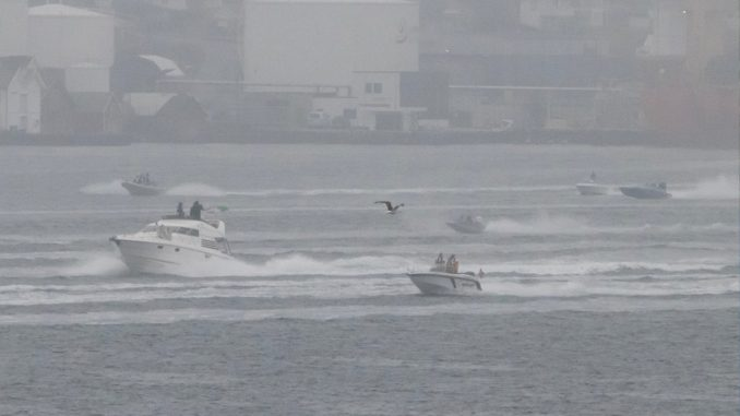 Det var vanskelig å unngå å legge merke til båtene i Smedasundet lørdag morgen.