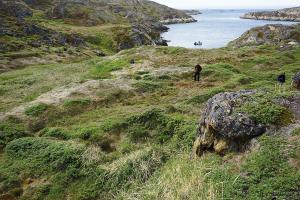 På bopladsen Arajutsisut, i øhavet syd for Sisimiut, ses tydelige ruiner af meget store fælleshuse fra 16-1700-tallet. Herfra fangede inuit om vinteren og foråret sæler og grønlandshvaler, og herfra drog man om sommeren ind i indlandet for at jage rensdyr i stor stil. Skindene tog man med sig tilbage til kysten, hvorefter man rejste til de store handelspladser, hvor inuit fra hele Grønland mødtes med hinanden og de europæiske hvalfangere og handelsfolk (foto: Jens Fog Jensen).