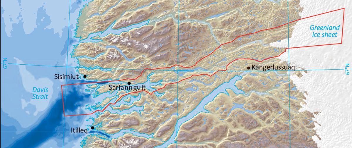 Kort over UNESCO-området fra Sisimiut til indlandsisen. Aasivissuit ligger ca. midtvejs (kilde: Nomination of Aasivissuit – Nipisat Inuit Hunting Ground between Ice and Sea for inclusion on the World Heritage List, January 2017).