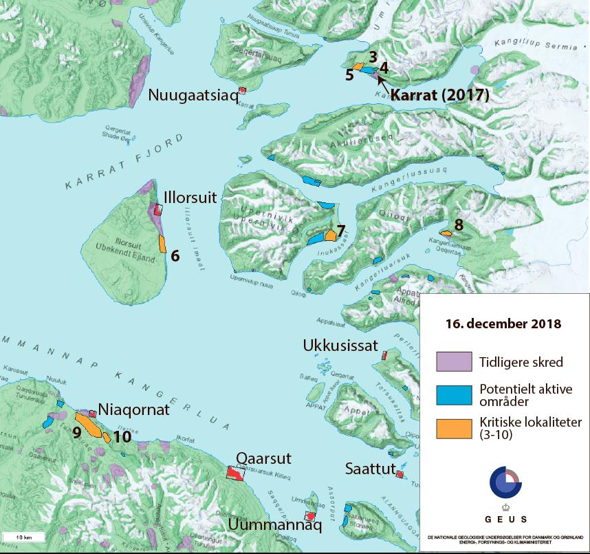 Kort over kritiske lokaliteter omkring Karrat Fjord. Kilde: Supplerende kort over kritiske lokaliteter. GEUS 17. december 2018.
