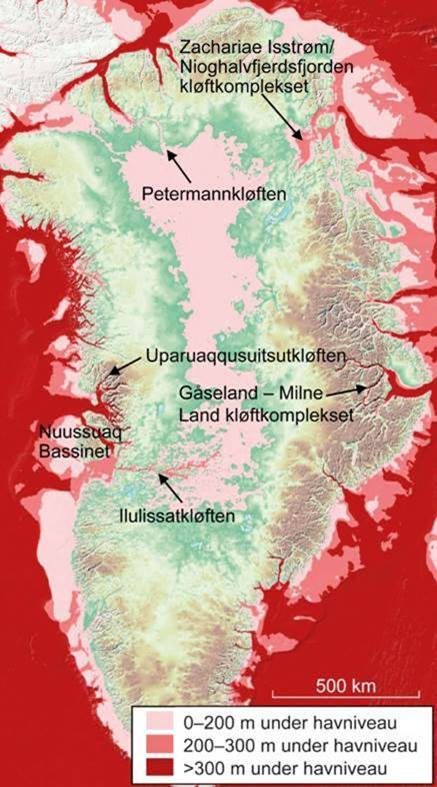 Kort over Grønlands kløfter: Topgrafisk kort der viser, hvor iskappen er fjernet. Her ses de store kløftsystemer under isen, hvor de mest kendte er Petermannkløften, Ilulissatkløften og Zachariae Isstrøm.