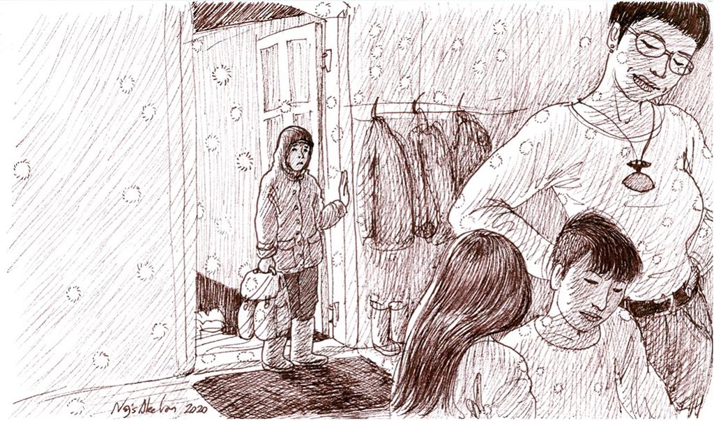 """Illustration fra ph.d.-afhandlingen: """"Jeg blev meget overrasket over stedet, da jeg kom. Der var mange folk på børnehjemmet, men det var meget lille, personalet var gammelt, og forstanderen havde travlt. Min kontaktperson og jeg sad og ventede på, at nogen skulle tage imod os. Personalet dækkede bord, som de plejer, og jeg sad lidt der…"""" (Hulda, 17 år). (Illustration """"Alene"""" af Naja Abelsen)."""