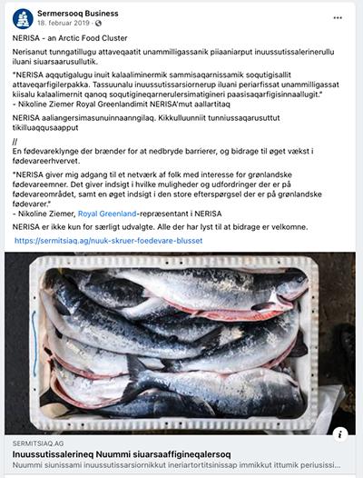 NERISA – an Arctic food cluster (screenshot Uffe Wilken).